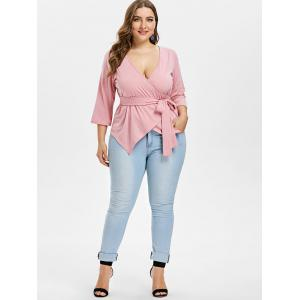 Plus Size Belted Surplice Top -