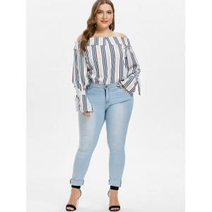 Plus Size Striped Off The Shoulder Top -