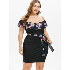 Plus Size Tiered Overlay Dress with Tie Belt -