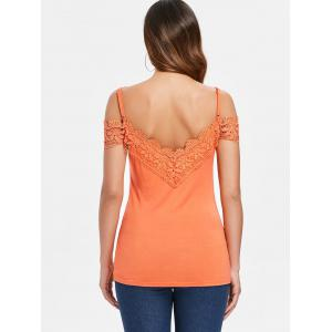 Crochet Trim Cold Shoulder T-shirt -