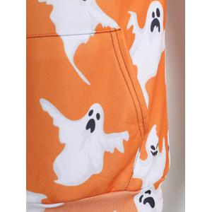 Long Sleeve Ghost Print Kangaroo Pocket Drawstring Hoodie -