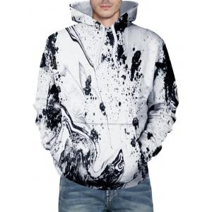Kangaroo Pocket Ink Splash Print Hoodie -