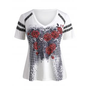 Plus Size Lace Trim Rose Graphic T-shirt -