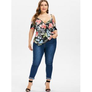 Plus Size Floral Surplice T-shirt -