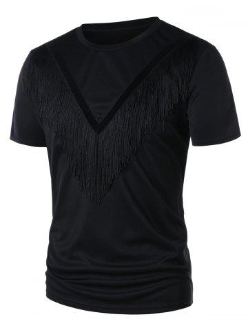 Hot Round Neck Velvet Panel Fringe T-shirt