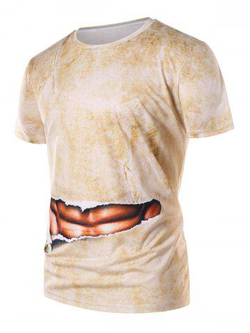 Faux Abs Print Round Neck T-shirt