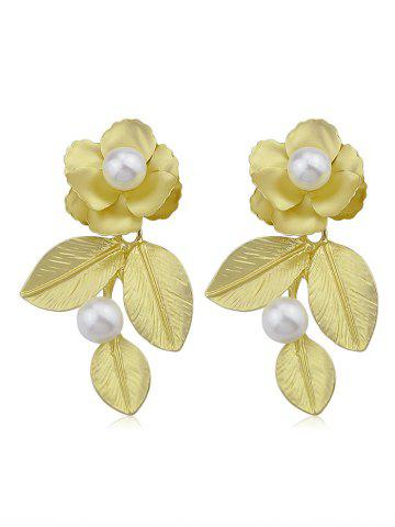 Flower and Leaves Earrings - Gold