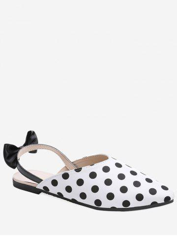 Comfortable Sale Online Buy Cheap Genuine Bowknot Embellished Pointed Toe Slingback Sandals - WHITE nQBl7