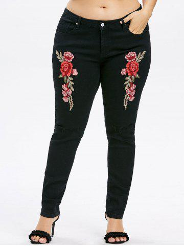 Buy Plus Size Embroidery Ripped Knee Jeans
