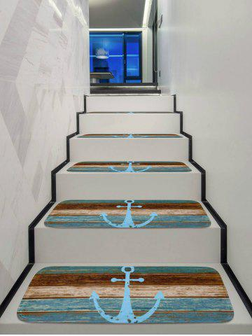 Affordable Wood Board and Anchor Pattern Stair Rug Runners