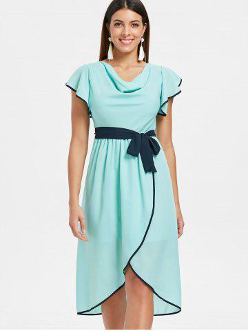 Short Sleeve Belted Asymmetrical Chiffon Dress