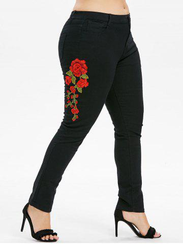 Buy Plus Size Flower Embroidered Zipper Jeans