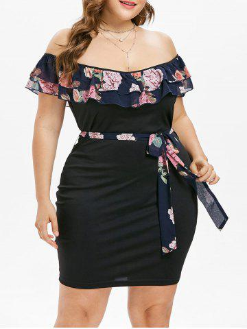 Store Plus Size Tiered Overlay Dress with Tie Belt