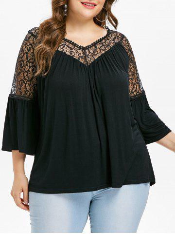 Store Plus Size Bell Sleeve V Neck T-shirt