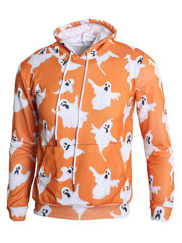 Unique Long Sleeve Ghost Print Kangaroo Pocket Drawstring Hoodie