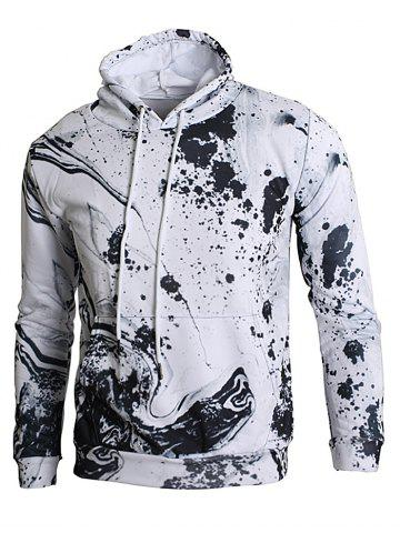 Cheap Kangaroo Pocket Ink Splash Print Hoodie