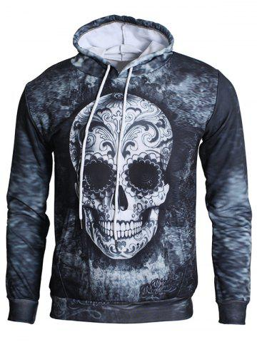 Fancy Kangaroo Pocket 3D Skull Print Drawstring Hoodie