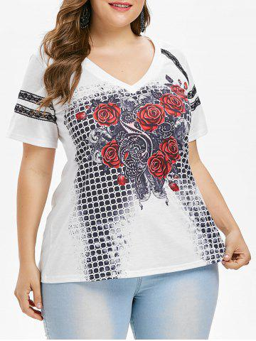 Hot Plus Size Lace Trim Rose Graphic T-shirt