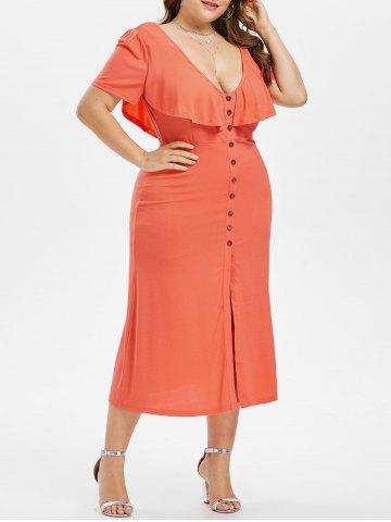 Hot Plus Size Plunging Ruffle Dress