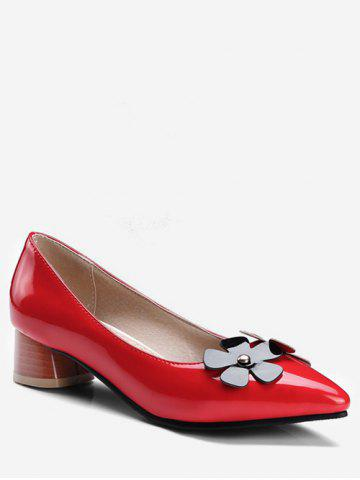 c09e1970522 Plus Size Block Heel Chic Flower Decoration Pumps