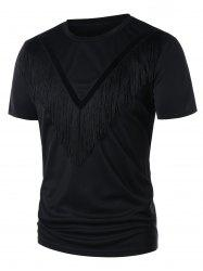 Round Neck Velvet Panel Fringe T-shirt -