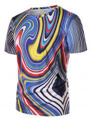 Colorful Vortex Print Round Neck T-shirt -