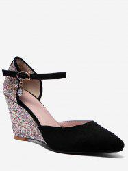 Plus Size Pointed Toe Glitters Wedge Heel Pumps -