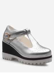 Plus Size Hollow Out Casual Buckled Wedge Shoes -