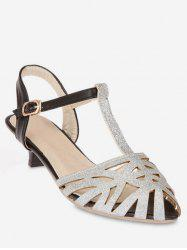 Plus Size Low Heel T Strap Hollow Out Slingback Sandals -