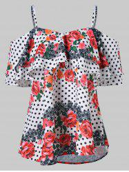 Floral Polka Dot Print Cold Shoulder Blouse -