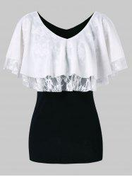 Lace Panel Half Sleeve Blouse -