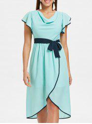Short Sleeve Belted Asymmetrical Chiffon Dress -