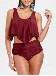 Padded Ruffle Panel Tankini Set -