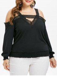 Cold Shoulder Plus Size Cut Out T-shirt -