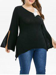 Plus Size Flower Applique Asymmetrical T-shirt -