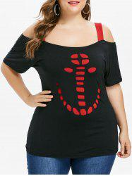 Plus Size Open Shoulder Cutout Pattern T-shirt -