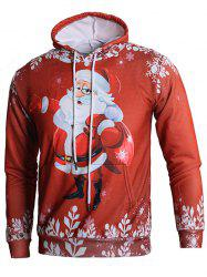 Long Sleeve 3D Santa Claus Print Kangaroo Pocket Hoodie -