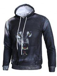 3D Angry Wolf Print Pullover Hoodie -