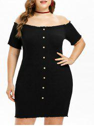 Plus Size Ribbed Off Shoulder Dress -