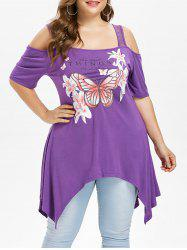 Plus Size Square Neck Handkerchief T-shirt -