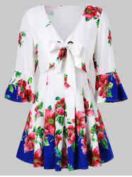 Bell Sleeve Floral Bowknot Tie Blouse -