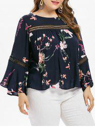 Bell Sleeve Plus Size Lace Insert Blouse -