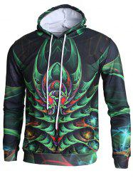 3D Plant Print Pullover Hoodie -