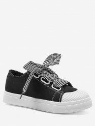 Low Heel Lace Up Plaid Strap Leisure Sneakers -