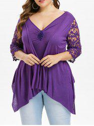 Plus Size Faux Twinset Lace Insert Asymmetrical T-shirt -