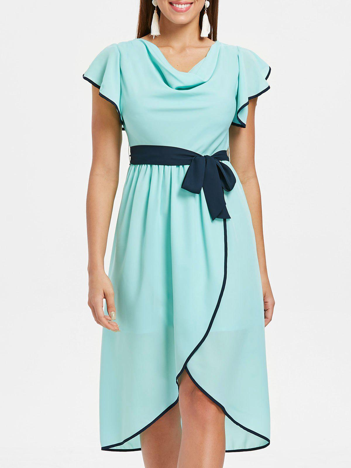 Outfits Short Sleeve Belted Asymmetrical Chiffon Dress