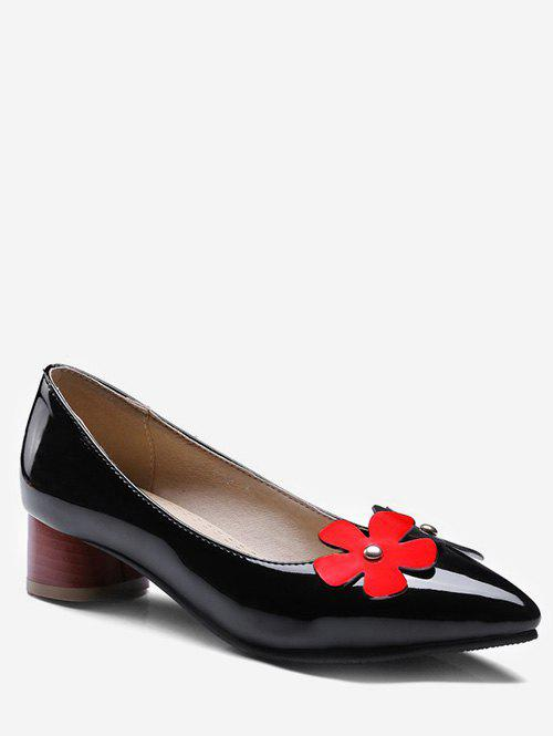 Trendy Plus Size Block Heel Chic Flower Decoration Pumps