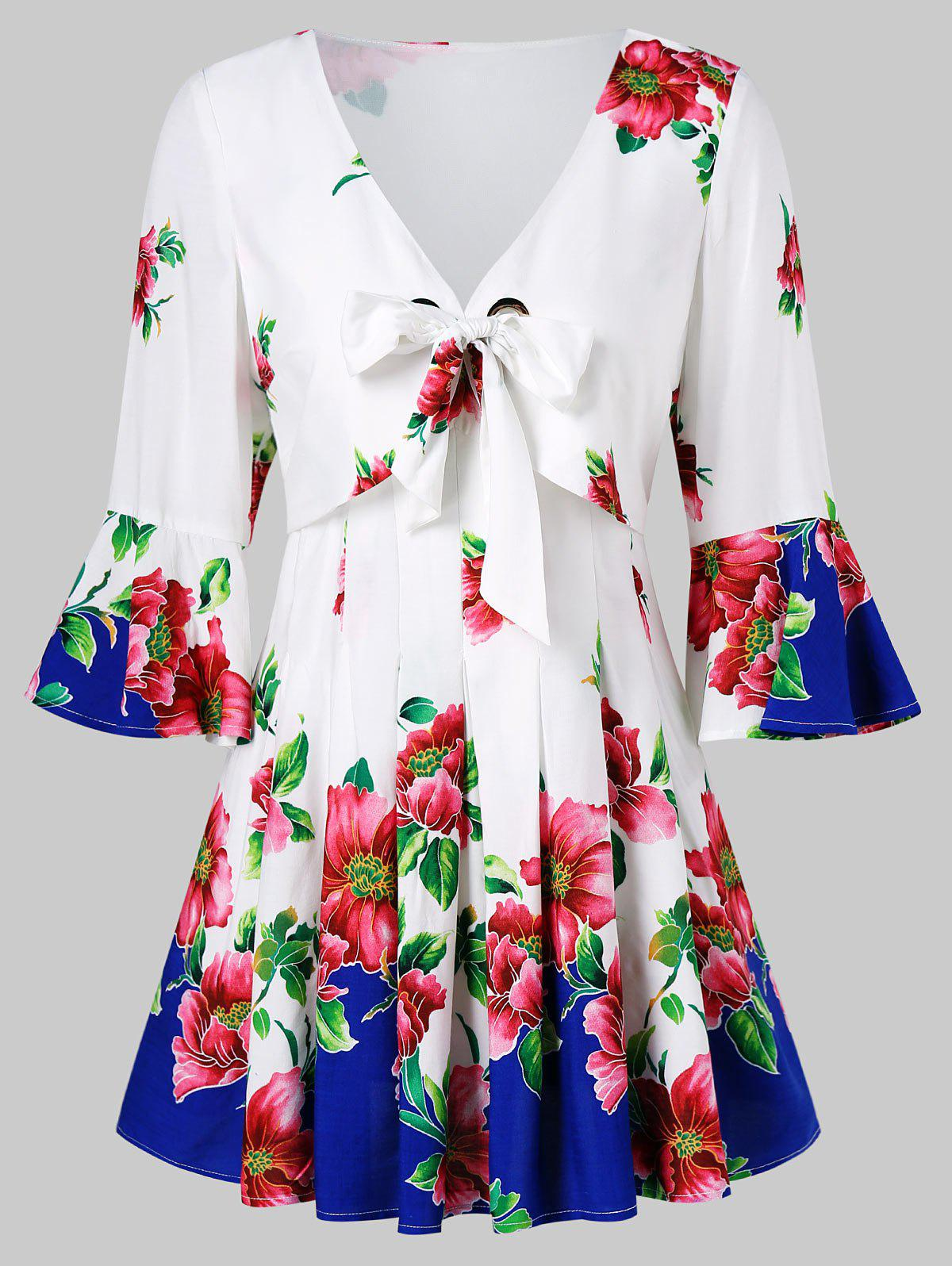 Buy Bell Sleeve Floral Bowknot Tie Blouse