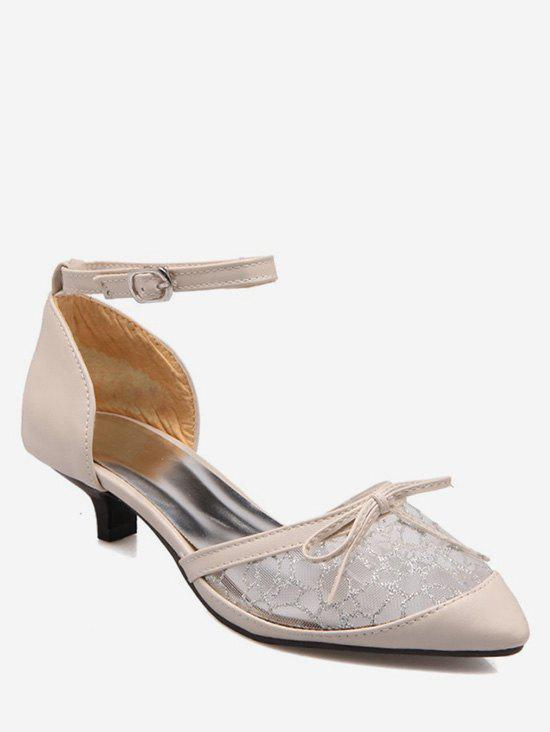 Sale Plus Size Chic Splicing Bowknot Pointed Toe Ankle Strap Sandals