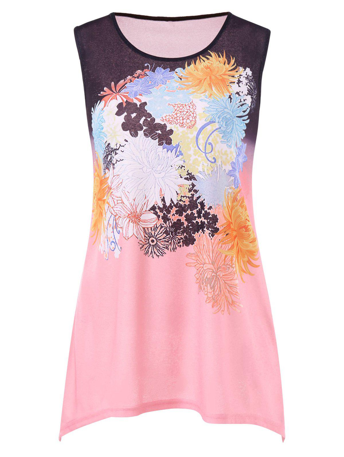 Unique Flowers Print Tank Top